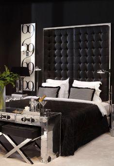 Chic Black and White Bedroom - Mebel-i-dekor-Eichholtz- Glam Bedroom, Home Decor Bedroom, Bedroom Ideas, Bedroom Furniture, Bedroom Designs, Bedroom Colors, Kids Bedroom, Bedroom Ceiling, Bedroom Curtains