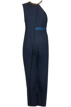 Navy blue zardozi embroidered layered jumpsuit available only at Pernia's Pop Up Shop.