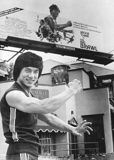 Jackie chan publicity shot infrint of the Big Brawl aka the battle creek braw one of my fave films .The charlie chaplin of kung fu . Kung Fu Martial Arts, Martial Arts Movies, Martial Artists, Jackie Chan, Chan Kong Sang, Kung Fu Movies, Clint Eastwood, Film Director, Bruce Lee