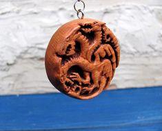 Dragon Pendant Dragon Wooden Pendant Targaryen Three-Headed