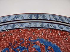Antique Pierced Oval Red white and Blue with Greek Key Border and Dragons 3
