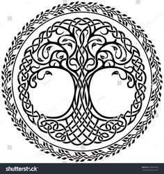 Vector ornament, decorative Celtic tree of life with floral round border - Tattoos - Baum Mandala Symbols, Celtic Symbols, Celtic Art, Celtic Knots, Celtic Decor, Celtic Mandala, Yggdrasil Tattoo, Celtic Tattoos, Viking Tattoos