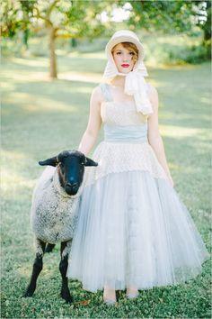 jenny haas photography #uniquebridals #lamb #weddingchicks  http://www.weddingchicks.com/2014/01/08/vintage-shepherdess-bridal-session/