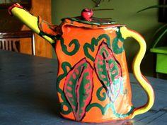 Teapot Ceramic pottery tea pots orange red green teapot sculpture contemporary funky teapot