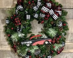Classic Car Wreath, Buffalo plaid ribbon, custom painted to your specifications Can be made on gra - List of the most beautiful classic cars Christmas Truck, Plaid Christmas, Outdoor Christmas, Christmas Crafts, Christmas Decorations, Holiday Decor, Christmas Things, Christmas Ornament, Wreath Boxes