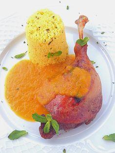 Les receptes que m'agraden: Confit d'ànec amb salsa de taronja i cuscús a l'ar...