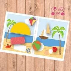 "Shape Matching: This one is a great activity for the little ones! Two beach scenes with missing ""objects"" - sun, bucket, blanket...  Kids will have to match the objects with the silhouettes on the images in order to complete the whole picture."