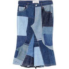 Junya Watanabe Denim Skirt ($775) ❤ liked on Polyvore featuring skirts, blue, button skirt, blue skirt, denim patchwork skirt, patchwork skirt and denim skirt