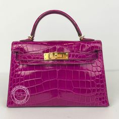 9a1ba374e4 20cm Rose Scheherazade Mini Kelly. Shiny Alligator