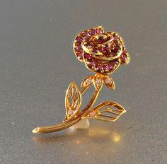 Franklin Mint 18K Ruby Diamond Brooch 1980 by LynnHislopJewels