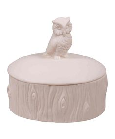 Look at this White Porcelain Woodland Owl Trinket Box on #zulily today!