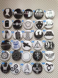 Geek Fandom Logo Pinback Buttons Doctor Who, Sherlock, Supernatural, Firefly, Zelda. Harry Potter, Star Wars, Star Trek, Merlin on Etsy, $1.50