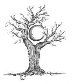 This drawing is of a crescent moon surrounded by the tree and branches hovering over it. Description from pixels.com. I searched for this on bing.com/images