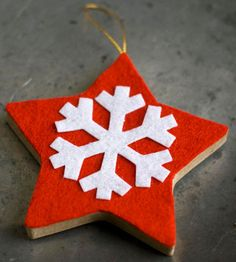 A snowflake pops against a bright red background, ensuring this star ornament always stands out. How to Make It: 1. Trace a papier-mache star onto felt. Cut it out and glue it to the papier-mache star. 2. Glue a felt snowflake cutout to the felt-topped star. 3. Hot-glue a hanging loop to the back of the ornament. Editor's Tip: Use a cardboard or wood star in lieu of papier-mache.