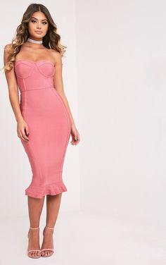 9b98877d192 Pretty Little Thing Rose Bandage Frill Hem Midi Dress    Pinky pink 💕💞💓