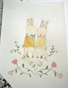 SALE 30 OFFTwo rabbits in love Original watercolor pencil by holli, $57.40