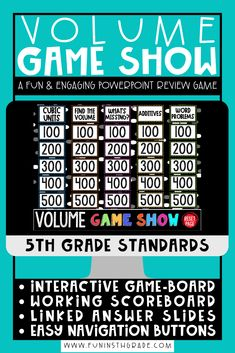 Volume game show for test prep!  This game show activity reviews the 5th grade math standards of volume!  Your students will love playing this interactive, engaging game that will get your students ready for state testing!  This game show is no prep and self checking and can be played in the classroom or during distance learning! Can be used with Google Slides, PowerPoint or Keynotel