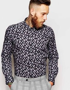 Noose & Monkey Shirt with Roses Print in Skinny Fit