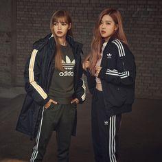 Adidas photoshoot- Lisa and Rose BlackPink Jenny Kim, Korea Winter, Rose Adidas, Adidas Official, Kim Jisoo, Blackpink Fashion, Adidas Fashion, Fashion Ideas, Blackpink Photos