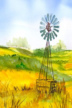 This definitely depicts a typical windmill scene in the Western Pennsylvania landscape. www.barbaraeasley.com