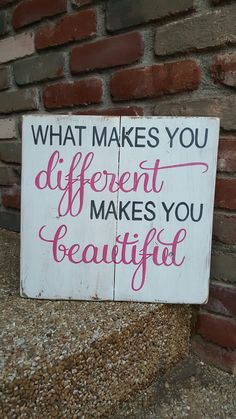What makes you different makes you beautiful. New design available from my little shop. Find this and more on my Facebook page Designs by Vena or email me for orders at Designsbyvena@gmail.com.    #designsbyvena #customsigns #handpainted #becreative #beautiful