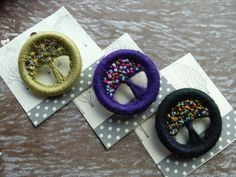 Tutorial: How to Make a Dorset Button — iMake March 2016 edit: link is broken Dorset buttons are what I need to do on the next baby sweater I knit! Handmade and embroidered Dorset buttons Stone b Button Art, Button Crafts, Craft Projects, Projects To Try, Dorset Buttons, Crochet Buttons, Passementerie, Fabric Jewelry, Schmuck Design