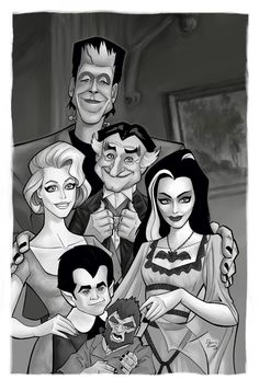 Herman Munster Cartoon | They do make for a cool family portrait ...