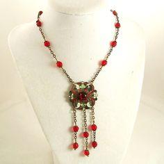 Vintage Art Deco Necklace Red Czech Glass Green Enamel by Revvie1, $88.00