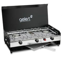Double Burner with Grill, Lid & Piezo   Gelert