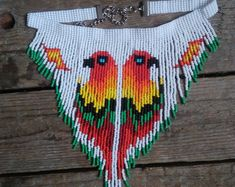 Items similar to Beaded necklace choker two parrots,Bead choker with birds,beadwork necklace,fringe necklace,Seed bead choker necklace native american style on Etsy Fringe Necklace, Beaded Choker Necklace, Seed Bead Necklace, Choker Collier, Pearl Choker, Beaded Earrings Patterns, Seed Bead Patterns, Native Beadwork, Native American Beadwork