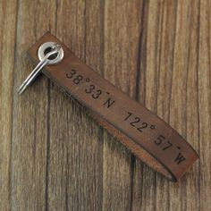 Items similar to personalized coordinates keychain,custom leather keychain,personalized Leather Key ring,Valentine gift for him husband boyfriend on Etsy Personalised Daddy Gifts, Personalized Wedding, Sacs Tote Bags, Ideias Diy, Valentines Gifts For Him, Leather Keyring, Leather Projects, Custom Leather, Handmade Leather