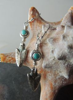 Turquoise and Silver Dangle Earrings, Artisan Jewelry, Silver Arrowhead Earrings, Bezel Set Turquoise Stones, Urban Rustic Jewelry by DianesAddiction on Etsy