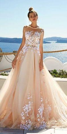 www.moodybride.com  inspiration, blush wedding dress, pink, spring 2017, wedding planning, wedding planner, wedding dress, design, illusion neck, neckline
