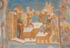 Parable of the Wedding Feast. Dionysius. Музей фресок Дионисия - Разрез по центральному поперечному нефу. Вид на запад - Притча о брачном пире