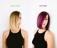 A sultry transformation with a fun twist= courtesy of London Lilac permanent hair color. #purplehairdontcare Purple hair how-to from @bri emery / designlovefest