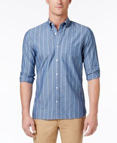 Brooks Brothers Red Fleece Men's Fine Striped Chambray Cotton Shirt