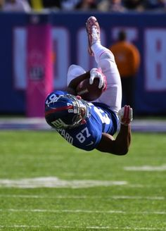 Giants vs. Ravens:     October 16, 2016  -  27-23, Giants  -      Oct 16, 2016; East Rutherford, NJ, USA; New York Giants wide receiver Sterling Shepard (87) is up ended after a first down reception against the Baltimore Ravens at MetLife Stadium. Mandatory Credit: Robert Deutsch-USA TODAY Sports