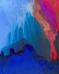 Teal Mountain Top Painting by Priya Ghose - Teal Mountain Top Fine Art Prints and Posters for Sale. - Abstract alcohol ink painting of the teal blue top of a tall mountain. #art #abstractart #mountain