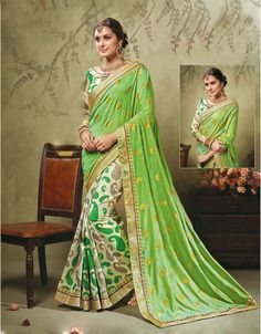 GREEN AND CREAM ART SILK SAREE WITH LACE WORK