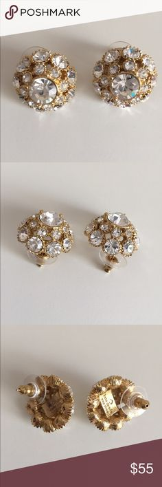 "Kate Spade ""Putting on the Ritz"" Earrings Kate Spade large version ""Putting on the Ritz"" crystal pave stud earrings. These gorgeous earrings make a big statement!  Large crystals are pave set in a bright mirror-polish gold tone setting. Oversized backs for stability.  Measure about 7/8"". Pristine condition. Well-priced.  One of the prettiest Kate Spade earrings ever made in my humble opinion! Kate Spade Jewelry Earrings"