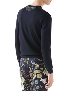Wool-Cashmere Sweater with Leather Detail