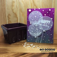 Stampin' Up!, Watercolor Confetti Birthday Balloons, Celebrate Today Photopolymer*, Blackberry Bliss Re-Inker, Lost Lagoon Re-Inker, White Stampin' Emboss Powder, Watercolor Paper, Vellum Card Stock, Ballon Framelits*, White Baker's Twine *2015 Occasions Catalog (January 6, 2015)