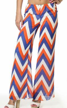 Blue White Chevron Print Stretch Wiast Wide Leg Chiffon Pants $26.95