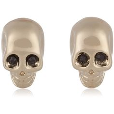 Givenchy Skull earrings in pale gold-tone and crystal (10,600 THB) ❤ liked on Polyvore featuring jewelry, earrings, silver, givenchy, punk rock jewelry, gold tone earrings, punk jewelry and punk earrings