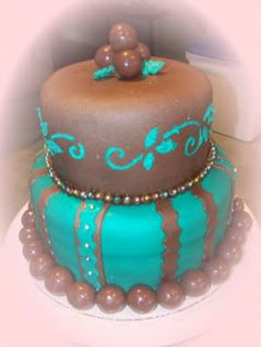 Teal Green Brown Chocolate Fondant Cake Ideas