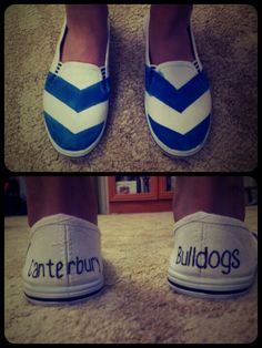 DIY Canterbury Bulldogs canvas slip on shoes! What you'll need: -Basic canvas shoes -Blue fabric paint -Black sharpie -Masking tape