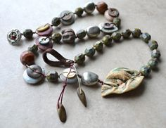 Button and Ceramic Disc Knotted Necklace with Leaf Focal