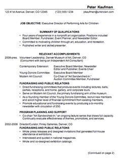 Combination Resume Example: Executive Director Of A Performing Arts  Organization For Children. This Resume Is A Rewrite Of A Functional Resume  Format.
