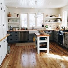I love the butcher block countertops and dark grout subway tile in this country kitchen DREAM KITCHEN Country Kitchen, New Kitchen, Kitchen Dining, Kitchen Decor, Kitchen Ideas, Kitchen Interior, Eclectic Kitchen, Rustic Kitchen, Kitchen Shelves