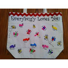 Finger print bugs on a canvas bag